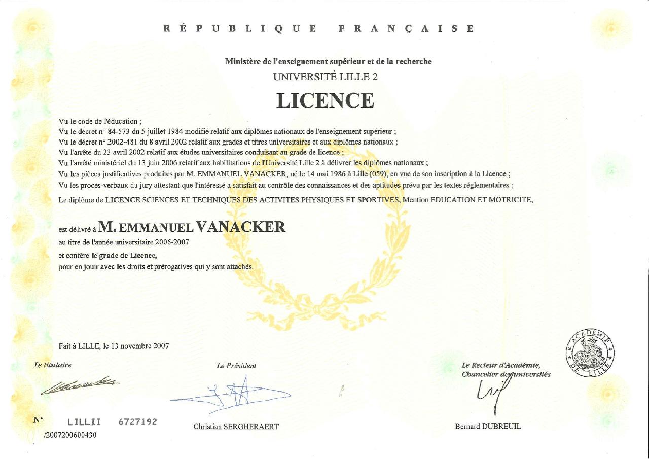 Licence Staps - MvSport